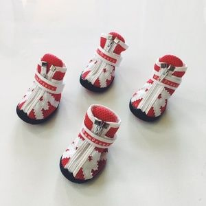 Shoes - NWT Red and White Dog Shoes